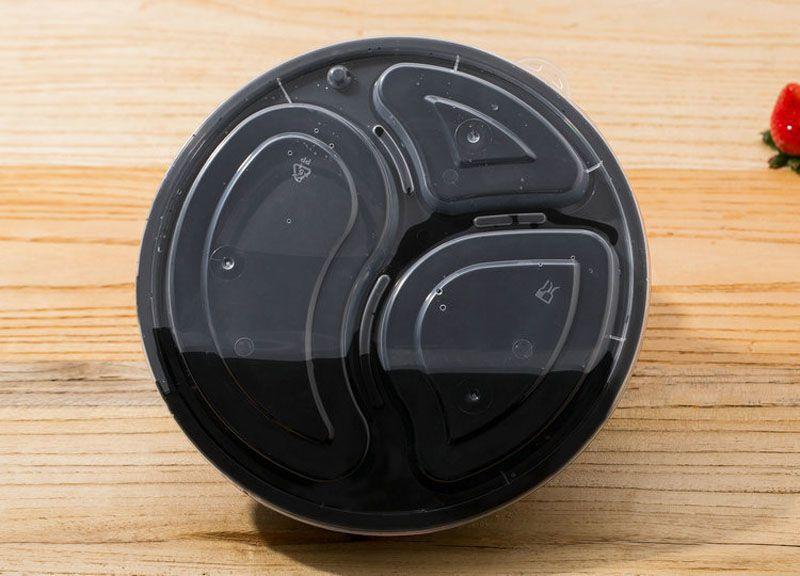 1000ml Runde Mahlzeit Prep Container Set Mikrowellengeeignet 3 Abteilung Bento Box Lebensmittel Lagerung Lunchboxen Deckel Fall ZA5997