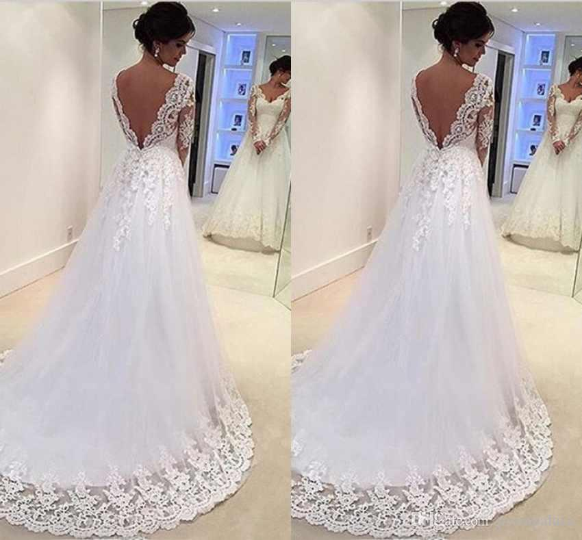 dd66626034c Discount Elegant V Neck Wedding Dresses Long Sleeves Lace Appliques Sexy  Open Back For Pretty Bridal Custom Charming White Wedding Gowns Wedding  Designers ...