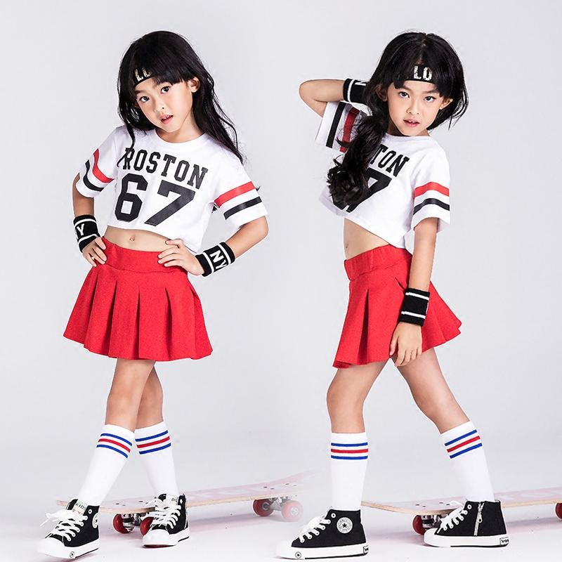 2f1712b7092b 2019 Girls Jazz Costumes Hip Hop Dancing Clothe White Tops Street Dance  Clothing Children Stage Performance Red Skirts Wear DWY527 From Stripe, ...