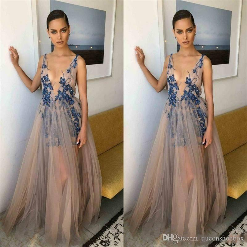 2019 Berta New Prom Dresses Deep V Neck Lace Appliques Beaded Sexy Il Party Wear Backless Formal Customized Abendkleider evening gowns