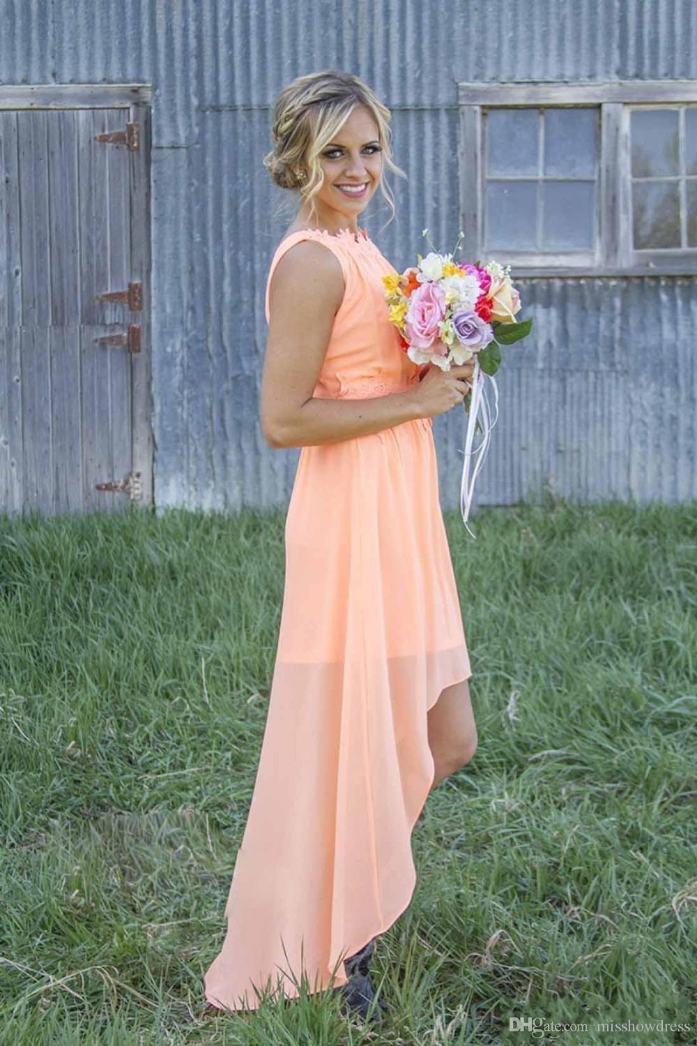 2018 새로운 저렴한 민트 그린 시폰 쉬폰 신부 들러리 드레스 Bateau 등 높은 높은 산호 해변 하녀 드레스의 하녀 결혼식 파티 가운