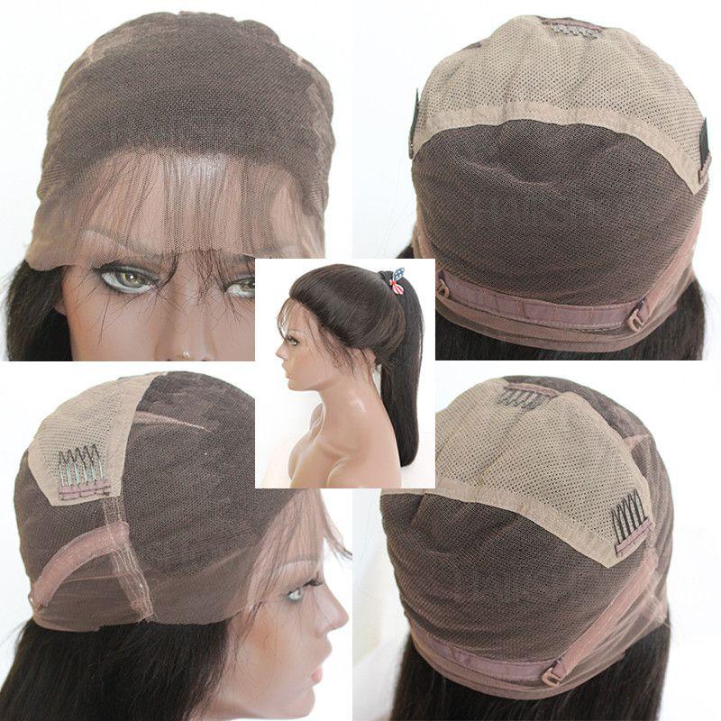 Parrucche diritte del pizzo di Yaki con i capelli umani vergini Glueless del pizzo dei capelli del bambino dei capelli vergini le donne nere