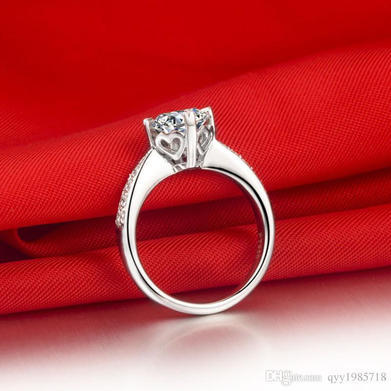 도매 1CT 클래식 웨딩 여성 반지 합성 다이아몬드 스털링 실버 약혼 반지 18K 화이트 골드 도금 파인 쥬얼리