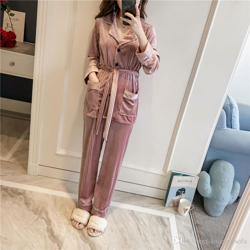 New Style Classical Velvet Home Clothing Lady Delicate Stripe Warm Sleepwear Winter Long Sleeve Pajamas Set Hot Sale 68mh Ww