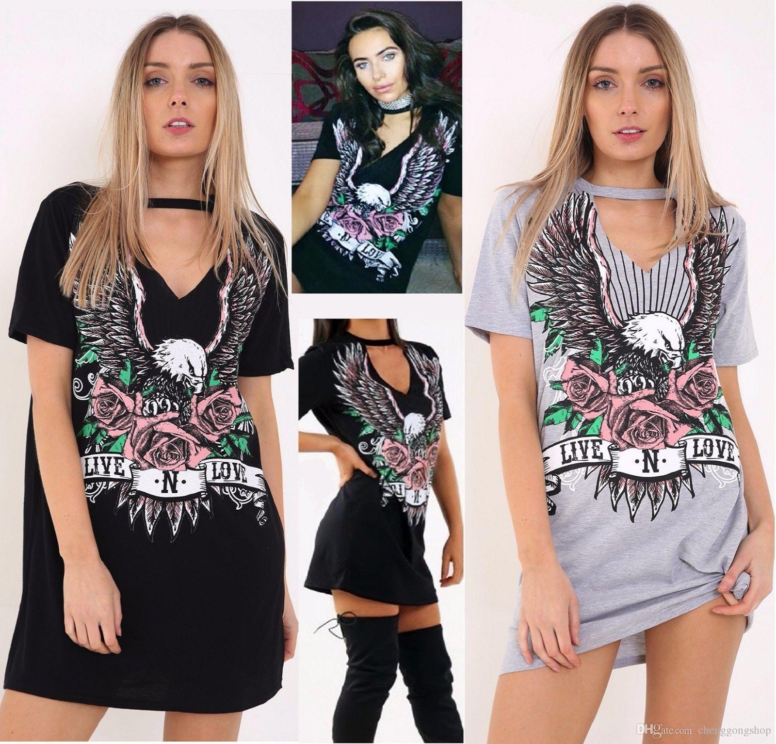 Горячие женщины Сексуальная мода печати Холтер футболка платье размер: S M L XL