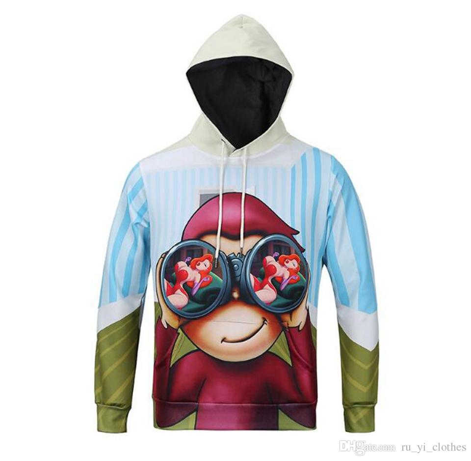 Men's spring autumn new fashion boutique character digital printing 3D printing hat monkey pattern head cover vest jacket /M-3XL