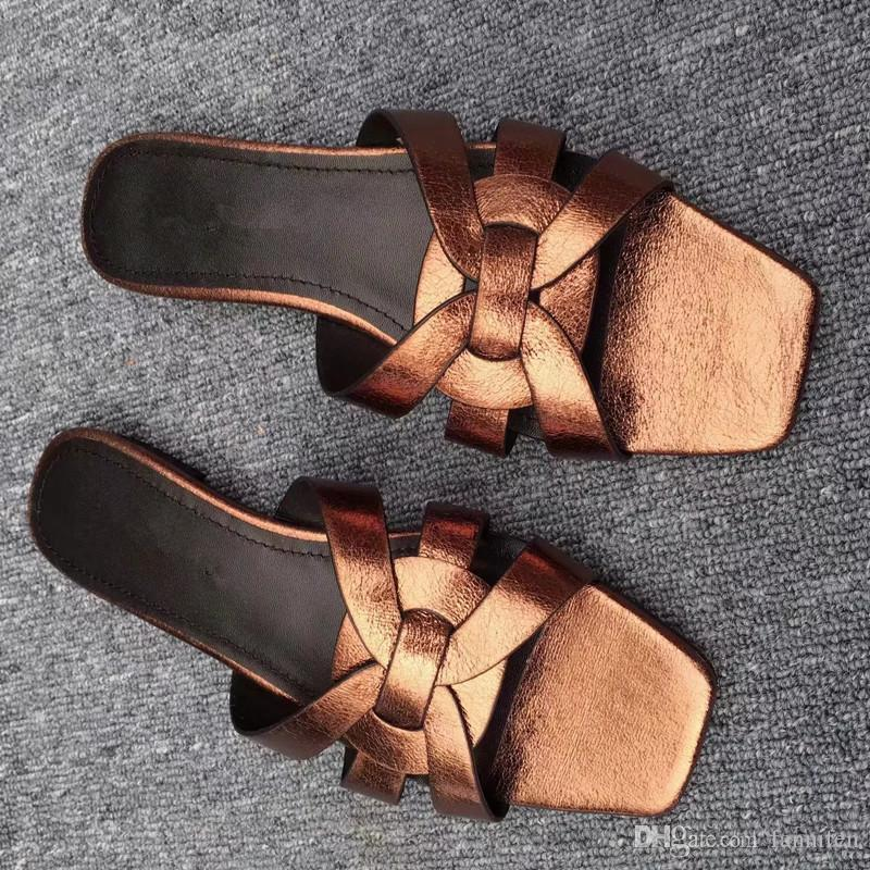 2018 Women Candy Color Summer Brand Slides Genuine Leather Fashion Slippers Outdoor Mules Flats Hot Sale Luxury Designer Lazy Loafers S807