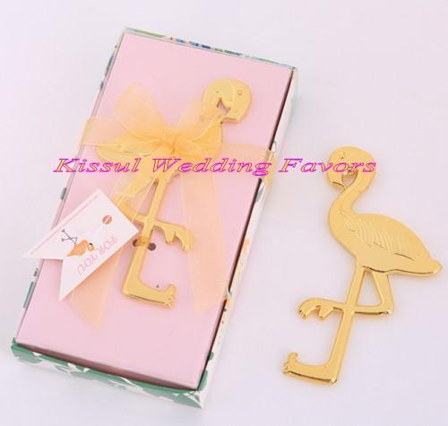 Wedding Reception Gift Of Gold Flamingo Bottle Opener Favors For