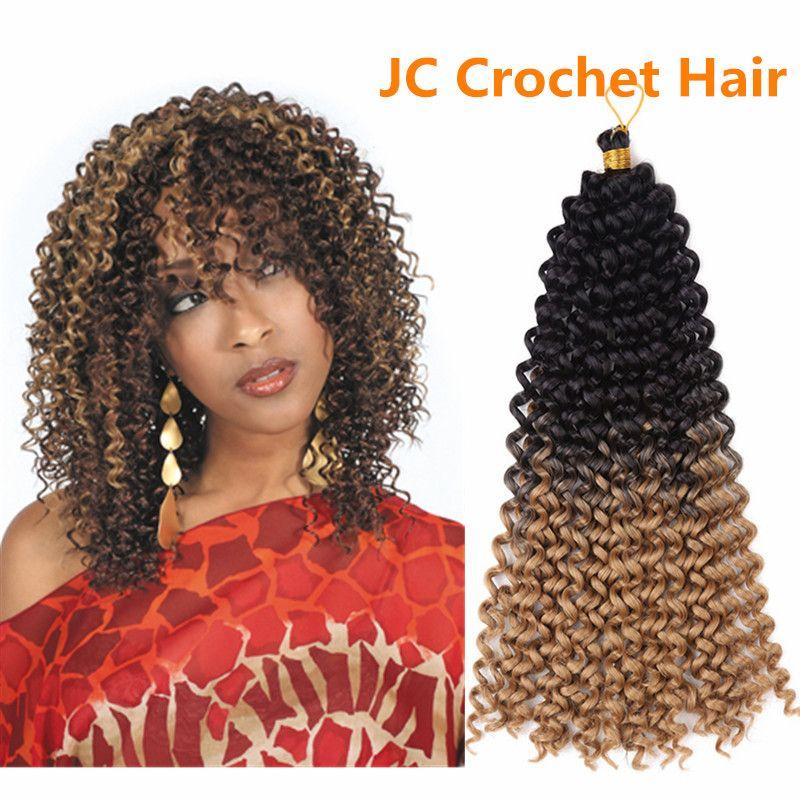 "Jerry Curl Weave Ombre Synthetic Braiding Hair Bulk 14""inch Freetress Braids Synthetic Crochet Water Wave bulk for women full wear"