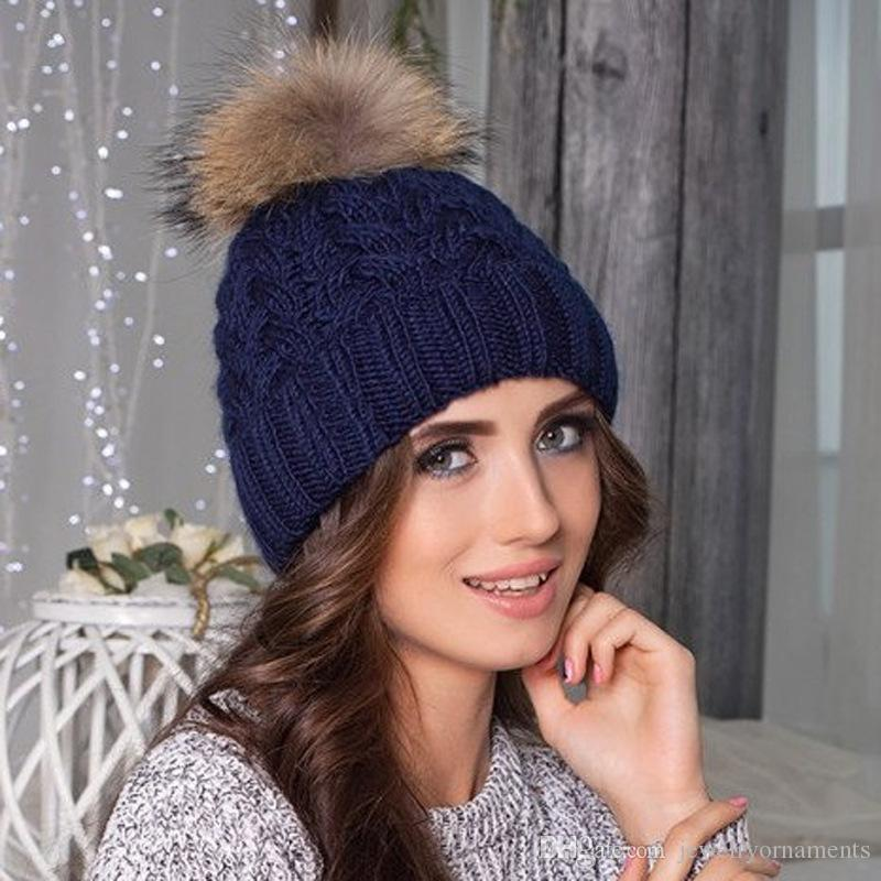 e4f7f1a5bbaa8 Mink And Fox Fur Ball Cap Pom Poms Winter Hat for Women Girl  s Hat ...
