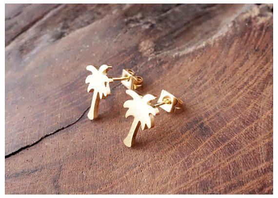 Gold Charm Palm Tree Earings Fashion Jewelry 2017 Modern Hawaii Beach Tropical Tree Earstud Best Friend Gifts Brincos Bijoux Bff
