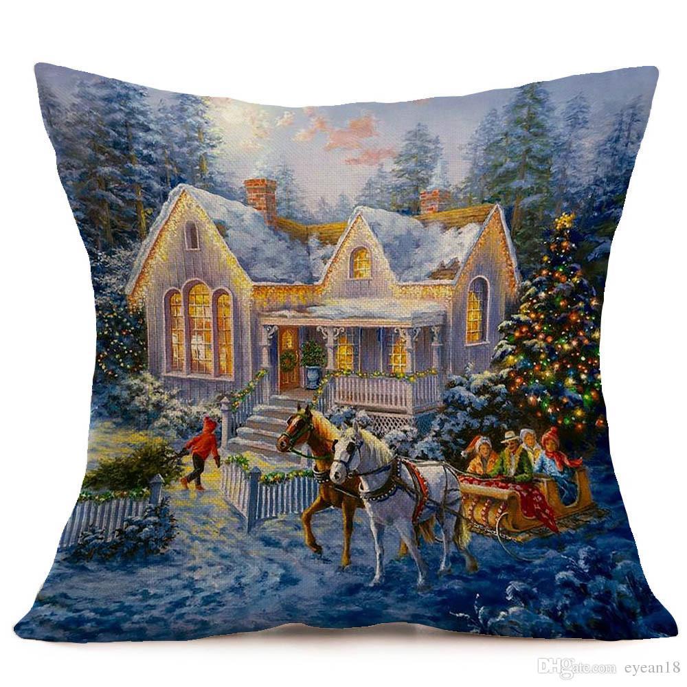Federe Cuscini Natale.Buon Natale Lino Pillow Case Stampato Federa Cuscini Decorativi