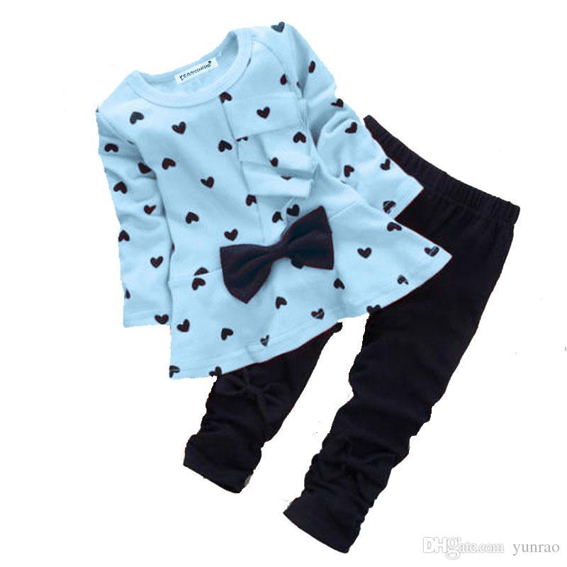 Acquista Vestiti Delle Ragazze Dei Bambini Insiemi Primavera Autunno Cotone  Bambini Vestiti Amore Cuore Arco Top Magliette Leggings Pantaloni Bambini  ... 7281a18cde4