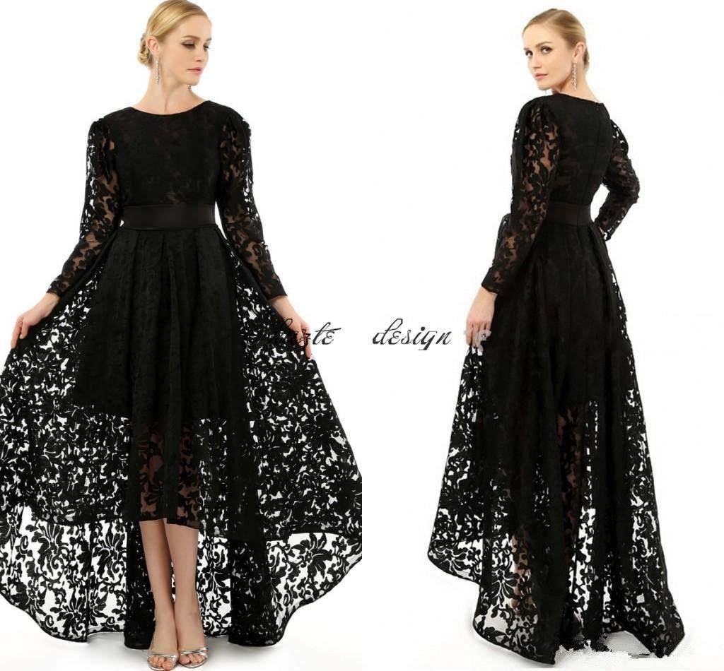Elegant Black Long Sleeve Plus Size Prom Occasion Dresses Crew Neck