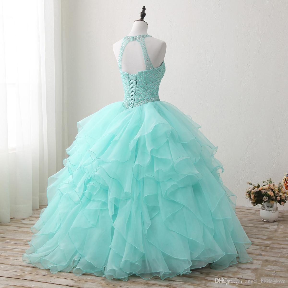 2018 New High Qullity Mint Green Ball Gown Quinceanera Dresses Beaded Prom Sweet 16 Dress Plus Size Lace Up Vestido De 15 Ano Q72