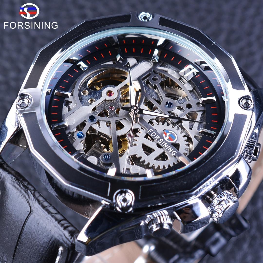 60f25c80e2c Compre Forsining Relógio Mecânico Automático Dos Homens Moda Engrenagem  Design Relógio De Pulso À Prova D  Água Relógio De Couro Genuíno Esporte  Masculino ...