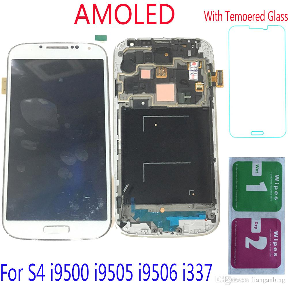 Super AMOLED LCD Display Touch Screen Digitizer+Frame For Samsung Galaxy S4 i9500 i9505 i9506 i337 Black White Tempered Glass DHL logistics