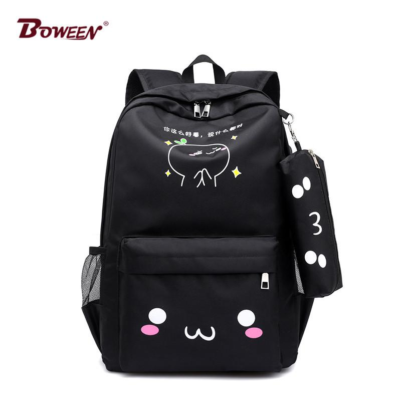 Teen Backpack Girls School Bags For Teenage USB Large Capacity Women Book  Bag Quality Nylon Schoolbag Cute Cat Back Pack Female Y18100804 Wheeled  Backpacks ... e9803436ca