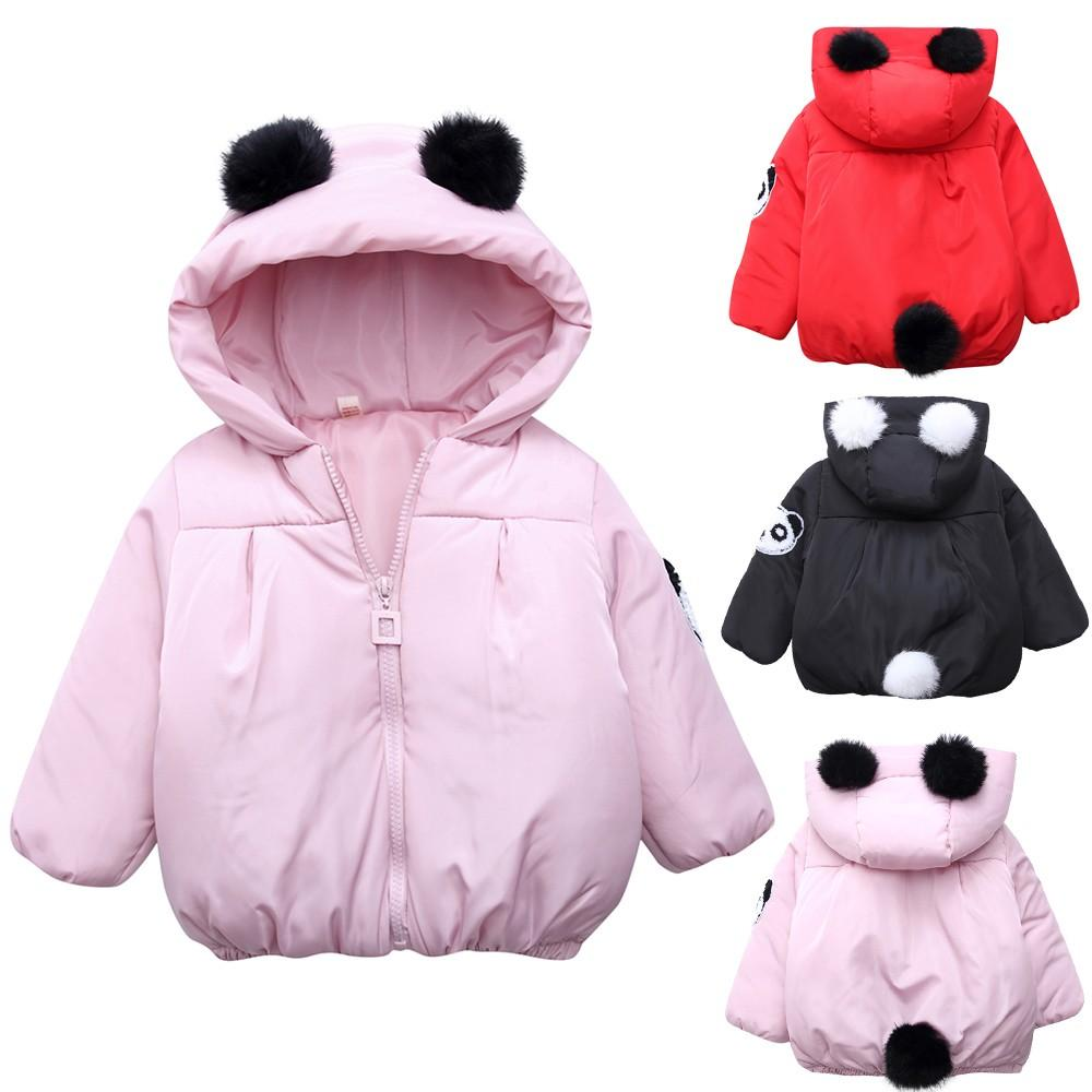 ab12e90269946 Acheter Hiver Enfants Vêtements Garçons Filles Doudoune Enfant Bébé Fille  Garçon Cartoon Panda Solide Chaud À Capuche Coupe Vent Manteau Tops  Vêtements De ...