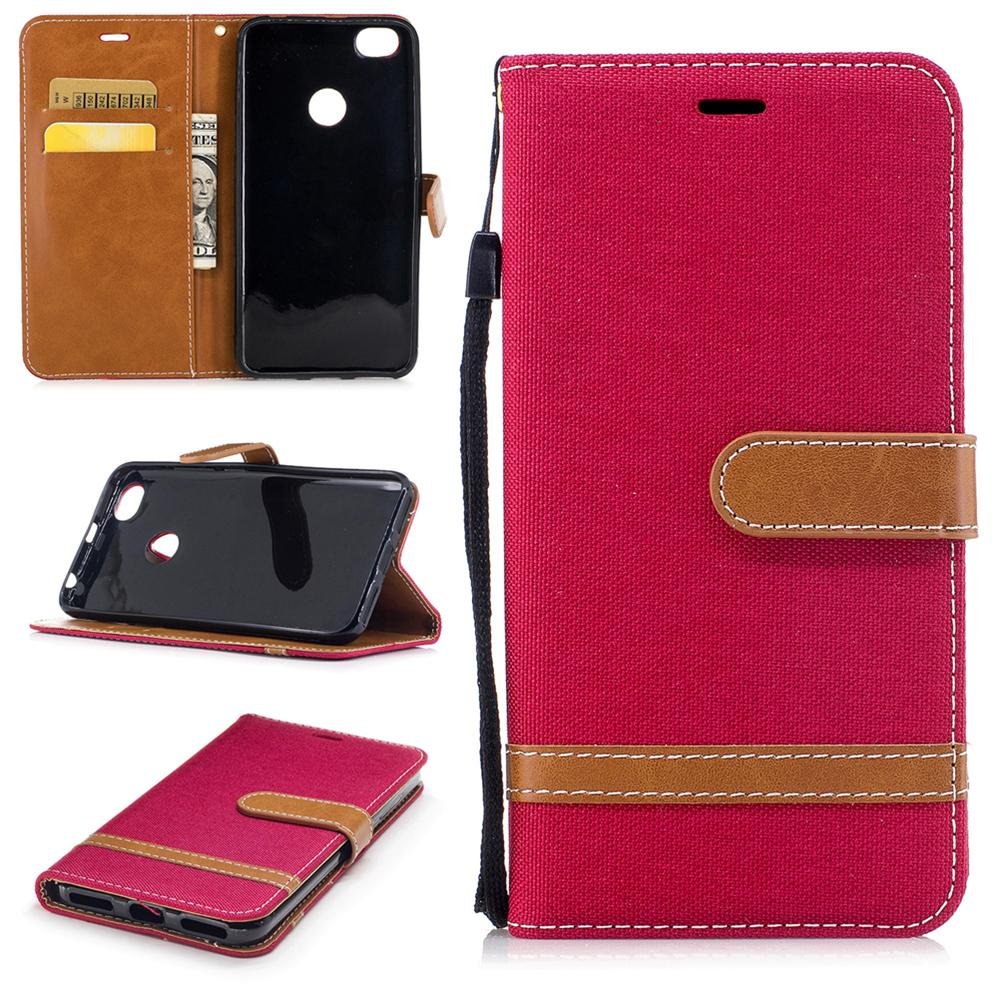 competitive price 95250 5bbb0 Mobile Phone Flip Wallet Case for Xiaomi Redmi Y1/Y1 Lite/Note 5A Cowboy  Cloth Cover with Card Pocket Hand Strap