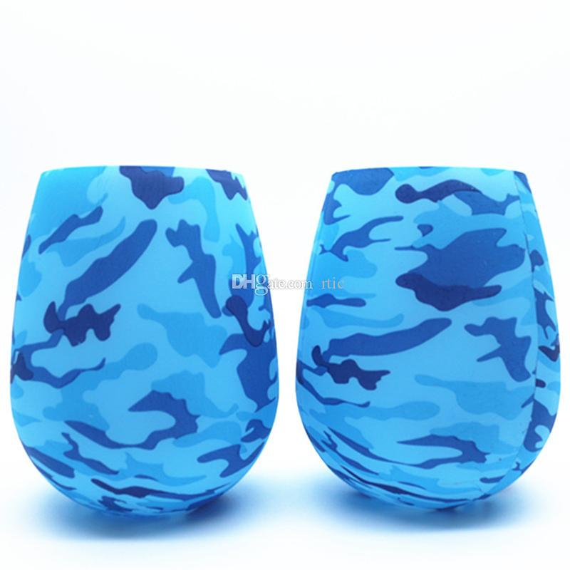 Silicone Tumbler Wine Glass Camouflage Lip Bohemia National Skull Bubble Outdoor Cups l Party Beer Whiskey Cup Drinkware