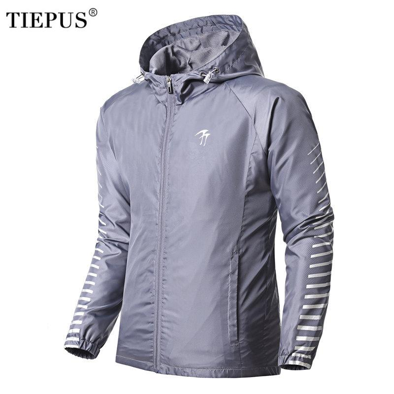 a9d7bd59f3bb TIEPUS 2018 New Spring Summer Mens Fashion Outerwear Windbreaker Men  S Thin  Jackets Hooded Casual Sporting Coat Big Size Mans Coats Cream Leather  Jackets ...