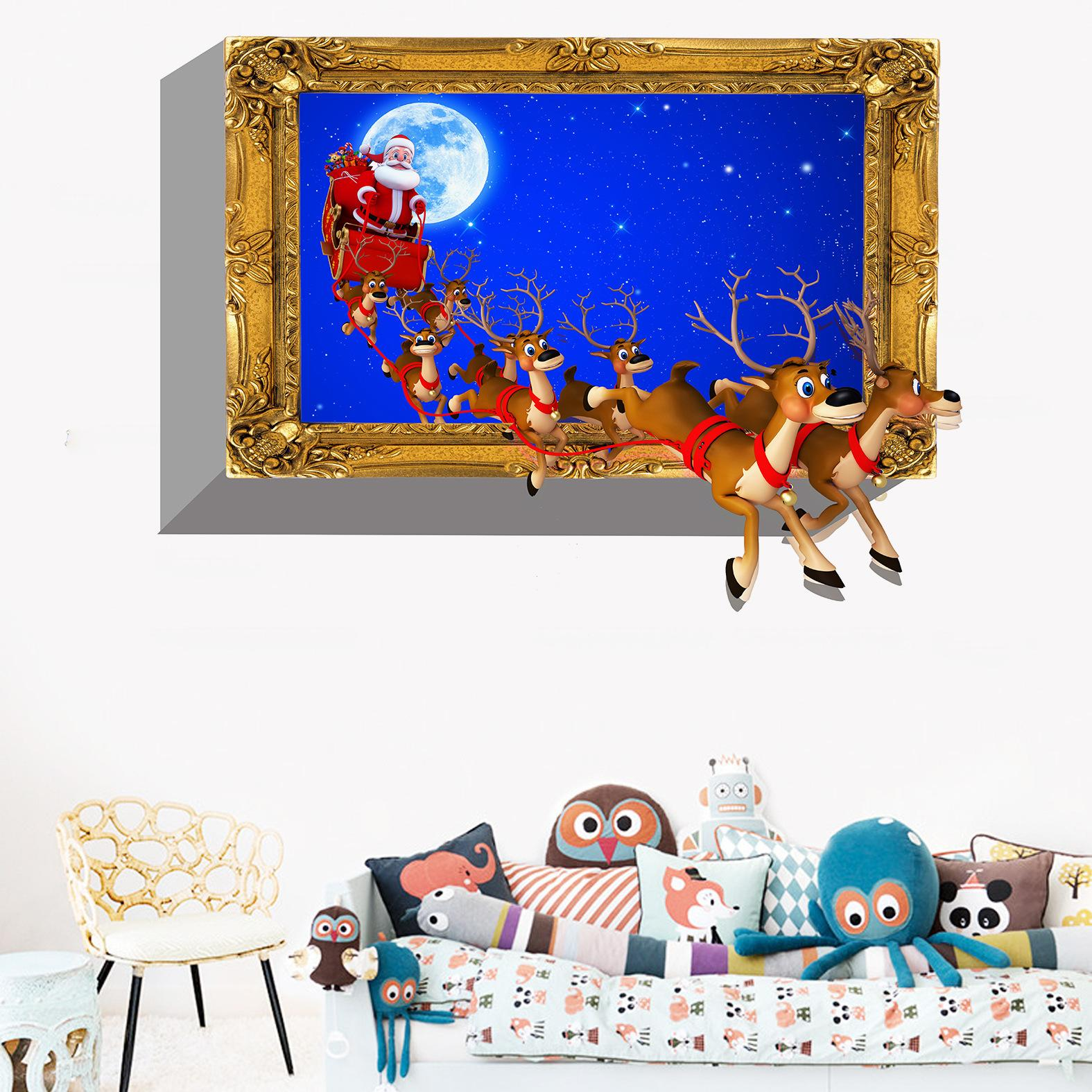 New Chirstmas Wall Decals Removable PVC Santa Elk Flying Festival Wall Sticker Murals for Living Room and Kids Room Decoration