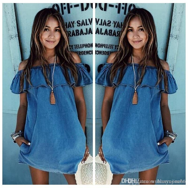 4399f81768f9 Hot Selling Fashion Women New Edition Sexy Off Shoulder Falbala Neck Denim  Jean Dress Casual Summer Dress S XL CL039 Floral Cocktail Dress Women In  Dresses ...
