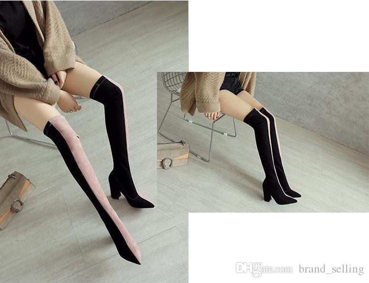 Thigh-High Pointed Toes Boots knitted Woman's High-heeled Chunkey heel shoes exclusive custom Slip-on Patchwork Colour Girls Fashion Boots