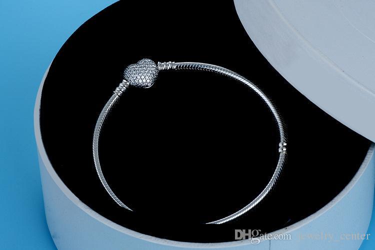 أصيلة 925 فضة القلب سحر سوار صالح باندورا الخرز الأوروبي مجوهرات الإسورة سوار الفضة الحقيقية للنساء