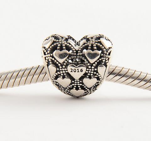 ca6cce5ec6c7a Original Club Charm 100% 925-sterling-silver Heart Charm Beads Fits Pandora  Charms Bracelet DIY Women Jewelry Making