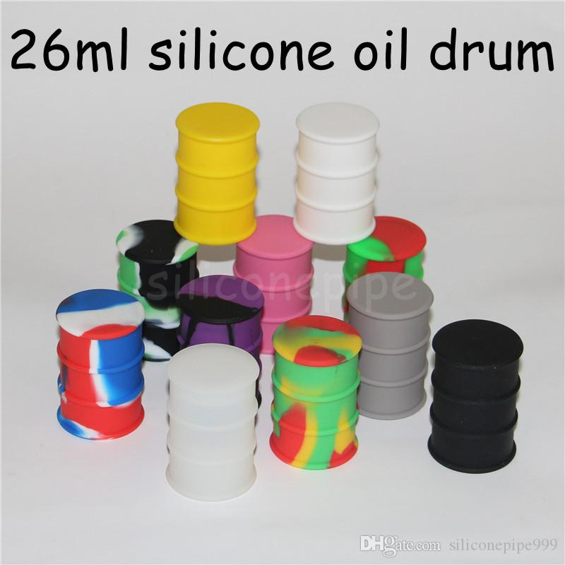 silicone oil barrel container jars dab wax vaporizer oil drum shape container 26ml large silicon dry herb dabber tool FDA approved