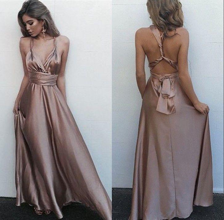 122f832ade7 V Neck Long Prom Dress With Crossing Back Straps 2018 A Line Princess  Sleeveless Spaghetti Straps Satin Floor Length Sash Ribbon Belt Dresse  Unique Prom ...