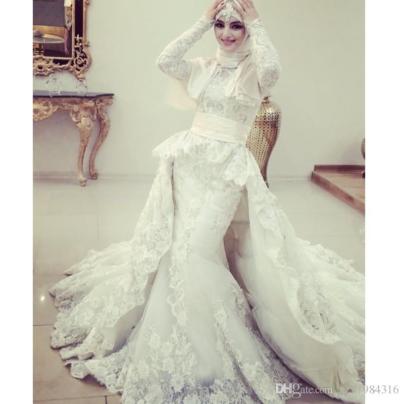 7df2265eaf0 Glamorous Saudi Arabia Wedding Dresses Beaded Lace Applique Long Sleeves  Mermaid Bridal Dress With Overskit 2018 Fashion Muslim Wedding Gown Sexy  Wedding ...