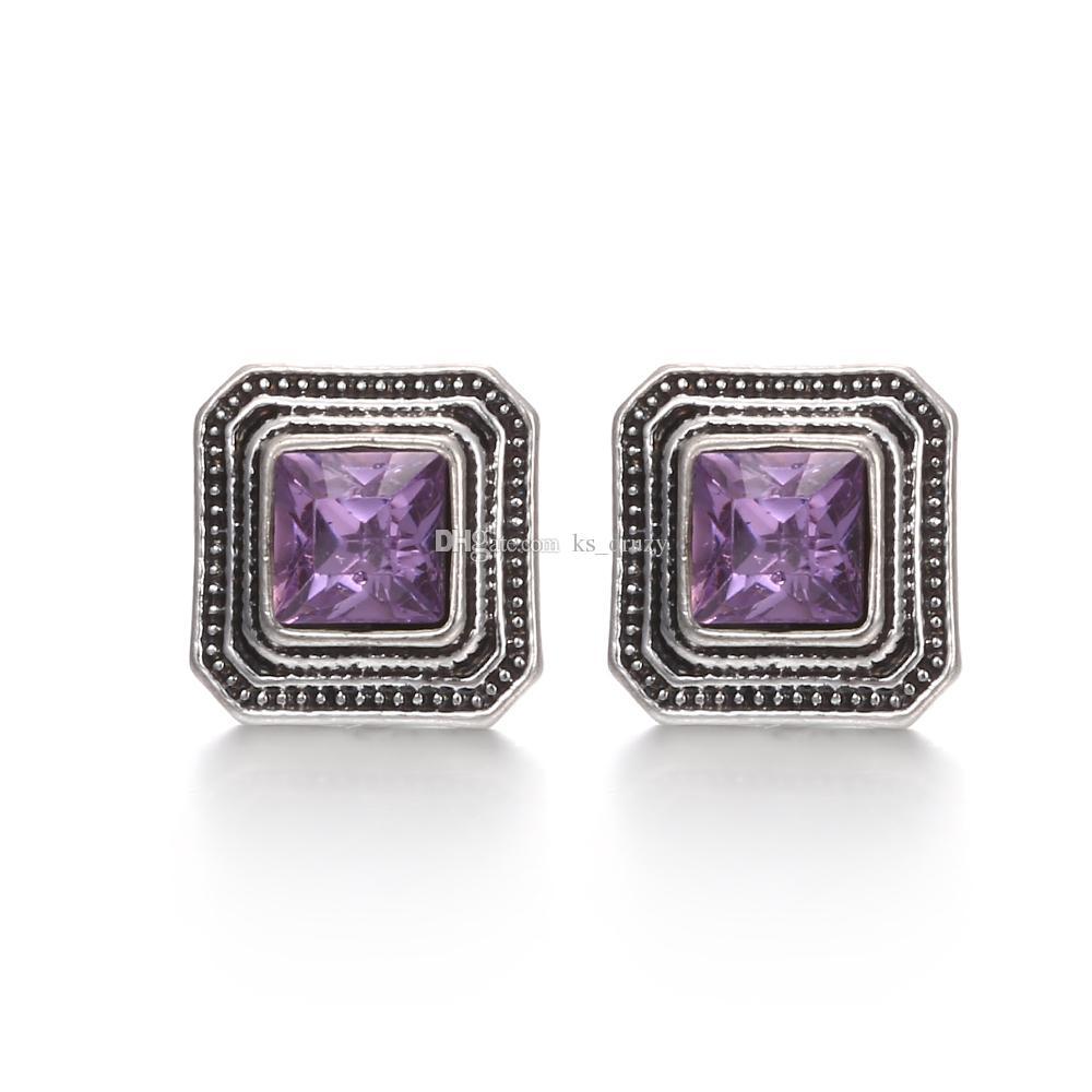 Mezcla de estilos NOOSA Chunks 12mm Crystal Snap Button Jewelry Cuadrado Cubo Triángulo Rhinestone Snap Button Brunks Pulsera Anillo regalo