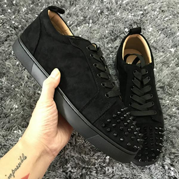 25aae9378d5e New Low Cut Suede Spiked Toe Casual Flats Red Bottom Luxury Shoes For Men  And Women Party Designer Sneakers Famous Brand Mens Casual Shoes Designer  Shoes ...