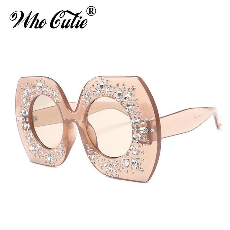 2658ca7d62 2018 Oversized Square Crystal Sunglasses Women 4315 Luxury Designer  Rhinestone Frame Round Lens Female Sun Glasses Diamond Shades Reading  Glasses ...