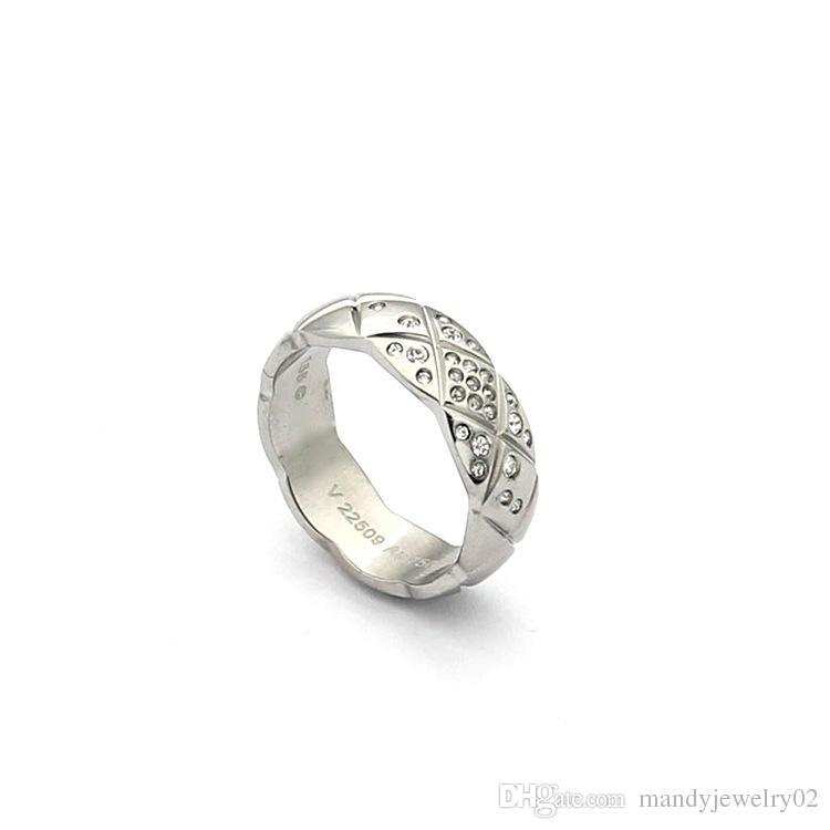 Ornamento atacado Rhombus 18 K ouro rosa diamante anel de diamante anel de ampla edição amantes da edição estreita anel para as mulheres encantos moda jóias