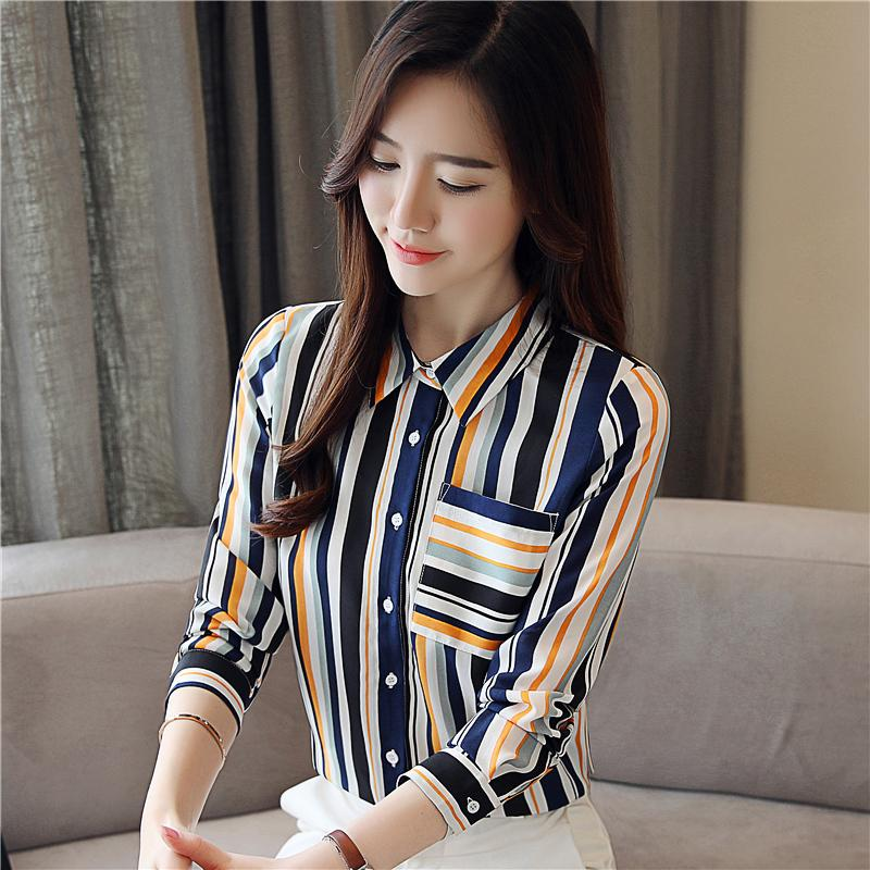 a5fa1608e79b Korean OL Striped Chiffon Shirt Fashion Pocket Printed Shirts New Autumn  POLO Long Sleeve Blouse Slim Women's Tops and Blouses