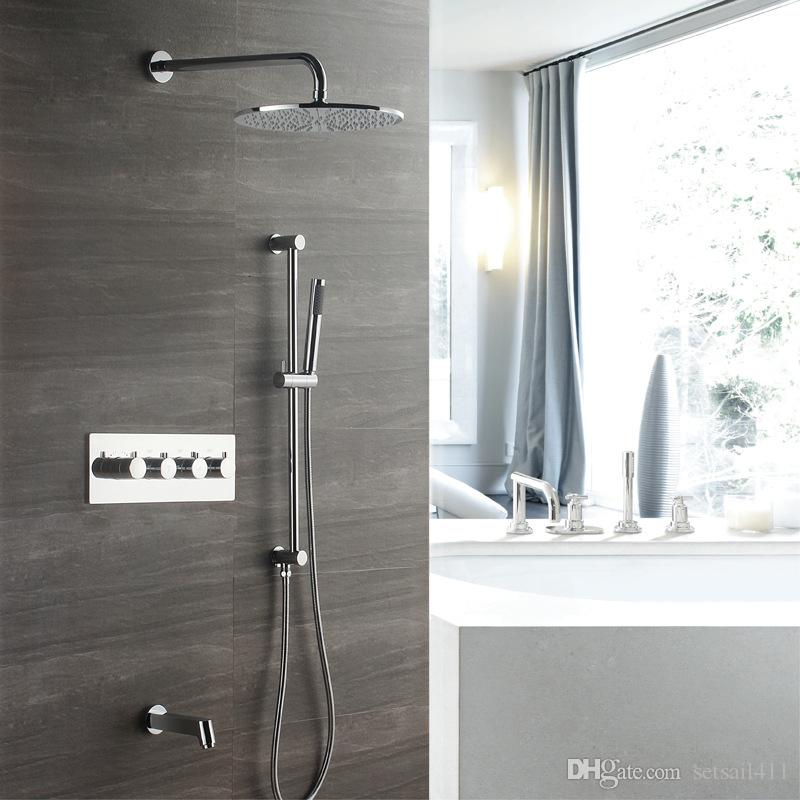 2019 Polished Bath Shower Square Faucet Brass Bathroom Rainfall