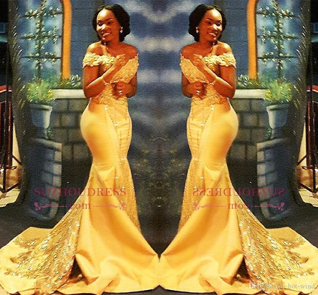 African Nigerian Yellow Mermaid Prom Dresses 2018 Off Shoulders Lace Sequined Satin Evening Prom Gowns BA8405