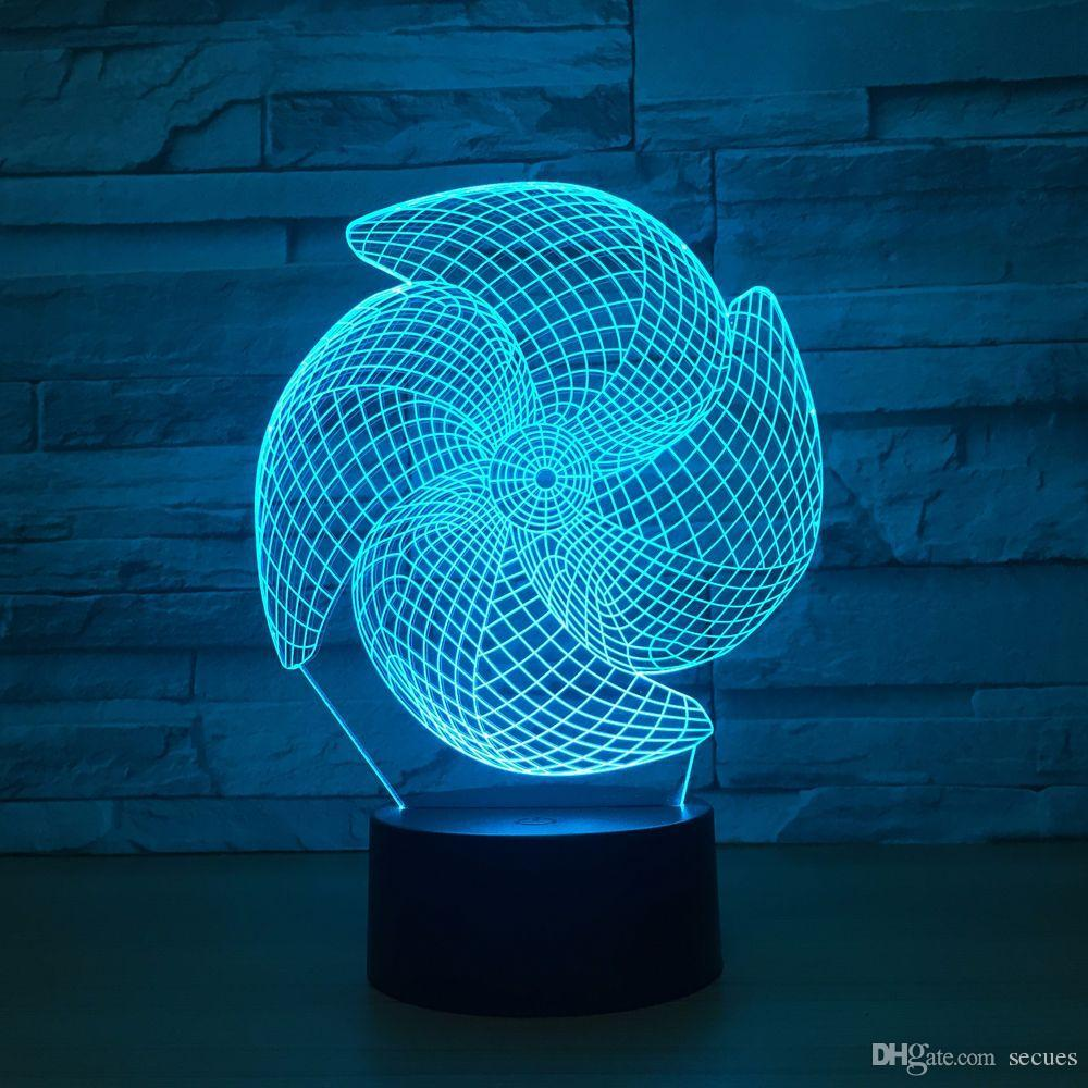 Windmill 3D Optical Illusion Lamp Night Light DC 5V USB Powered 5th Battery Wholesale Dropshipping Free Shippin