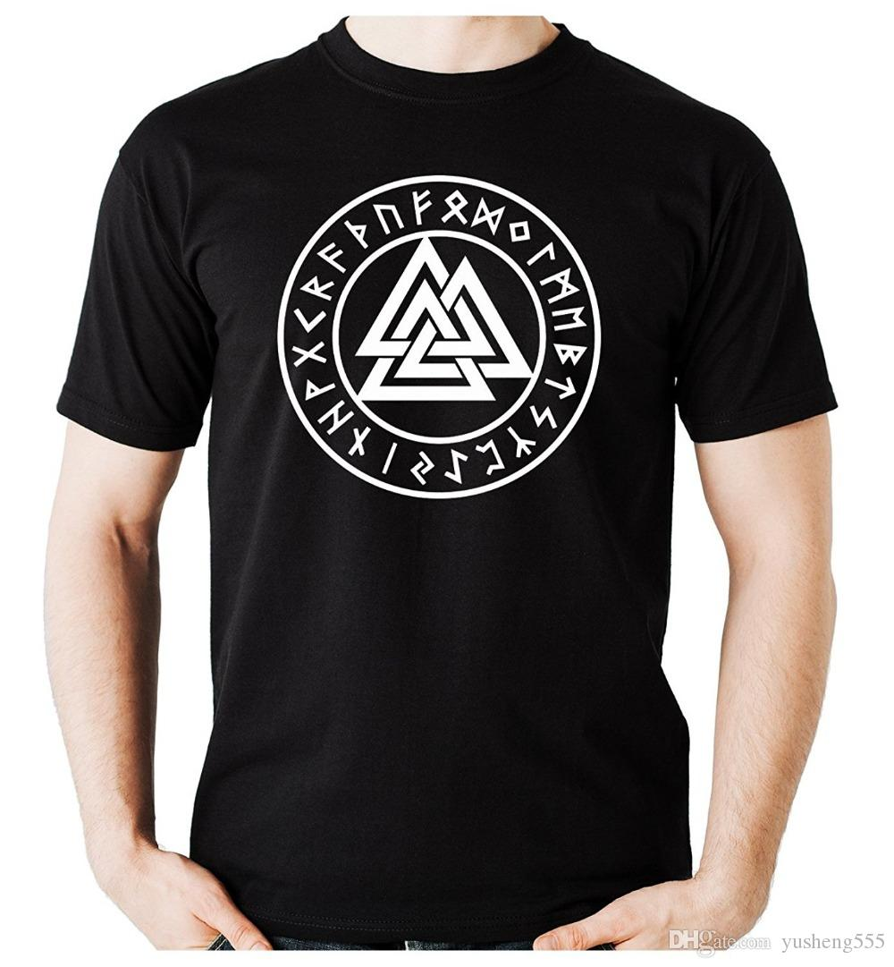 Cool T Shirt Designs Printing Machine Men Valknut Odin Viking Symbol