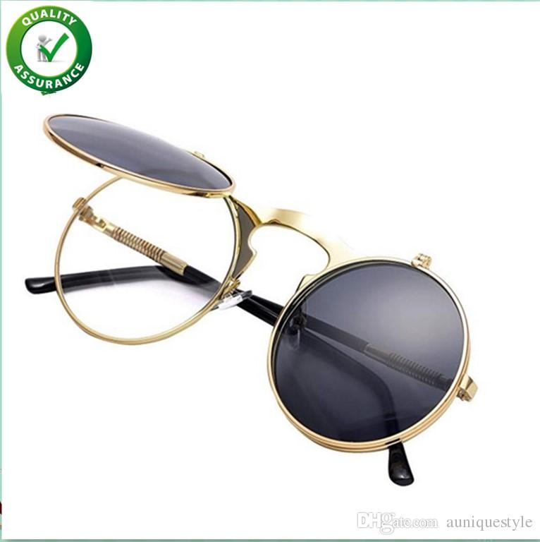 65be0adae0 Compre Diseñador De Lujo Gafas De Sol Vintage Ronda Flip Up Gafas De Sol  Para Hombres Mujeres Niños Juniors Estilo John Lennon Círculo Gafas De Sol  ...