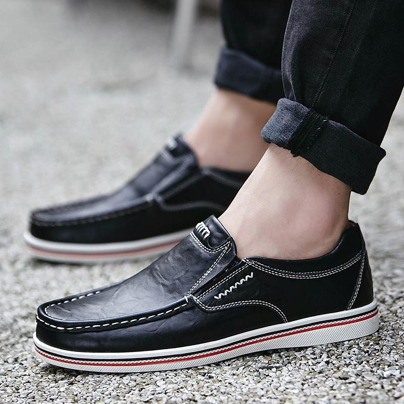 Mens British Style Boat Shoes Minimalist Design Leather Men Dress