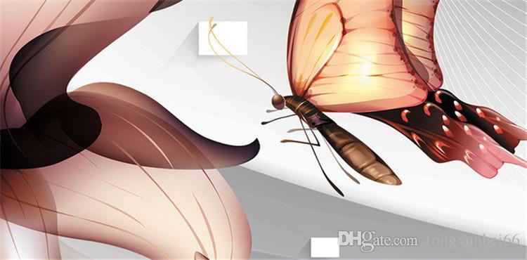 Özel 3D Fotoğraf Kağıdı Modern Soyut Moda Oturma Odası Kanepe Yatak Odası TV Arka Plan Duvar Duvar Kağıdı Çiçekler Kelebek