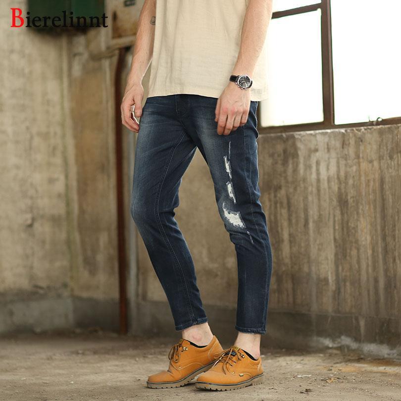 a59143700ca4 2019 Bierelinnt Pencil Ankle Length Pants Cotton Denim Men Jeans ...