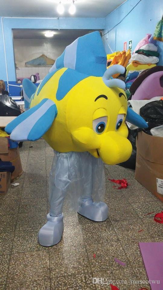 Flounder Little Mermaid Yellow Fish Mascot Costume Party Character