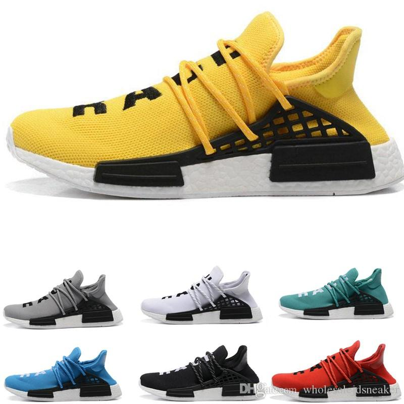 97bc177e5dfe7 New Human Race Running Shoes Pharrell Williams Hu Trail Cream Core Black  Nerd Equality Holi Nobel Ink Trainers Mens Women Sports Sneaker Spikes Shoes  Best ...