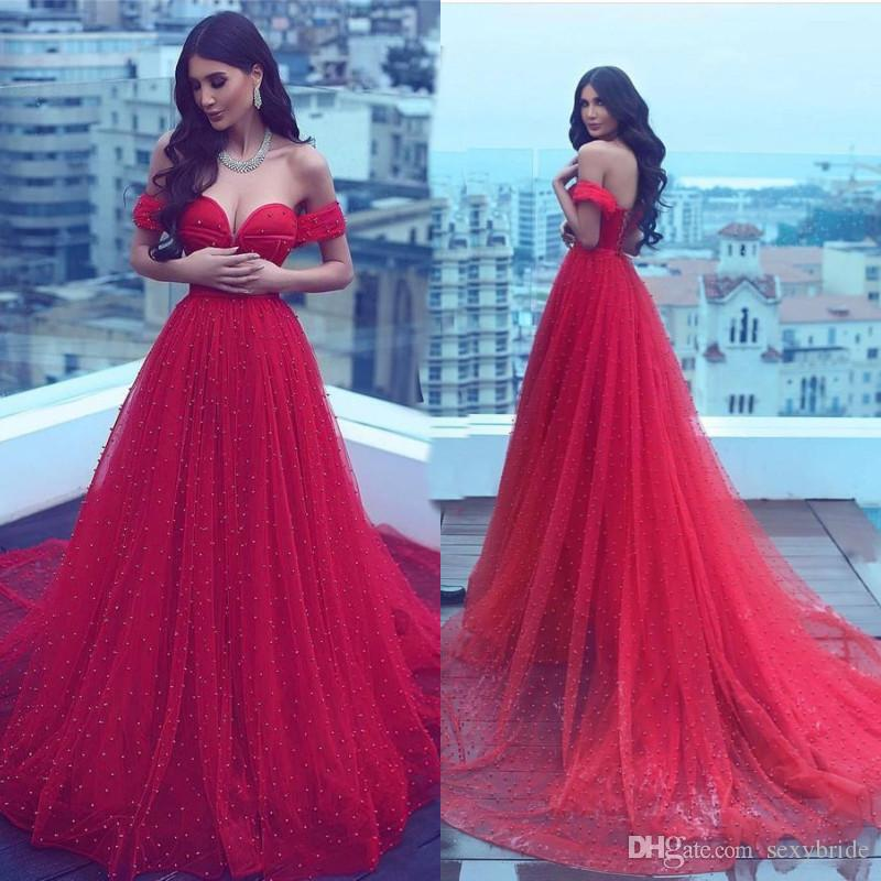 6d7fd37d0 Luxury Red A Line Long Arabic Dubai Prom Dresses Beaded Pearls Off Shoulder  Tulle Red Carpet Evening Gowns Sweep Train Engagement Dress Sequin Prom  Dress ...
